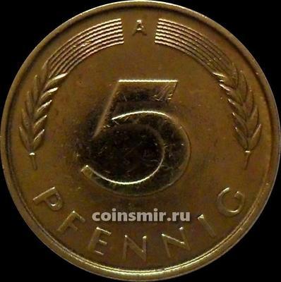 5 пфеннигов 1990 А Германия ФРГ.