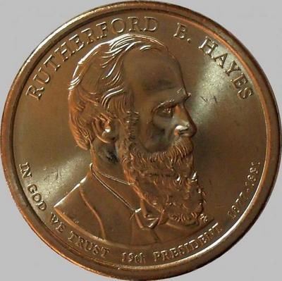 1 доллар 2011 Р США. 19-й президент США Резерфорд Хейз.
