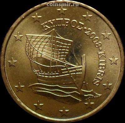 """50 евроцентов 2008 Кипр. Парусник """"Кирения""""."""