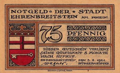 75 пфеннигов 1921 Германия. г. Эренбрейтштейн. Нотгельд.