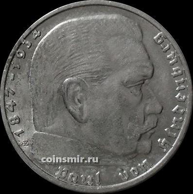 2 марки 1939 Е Германия. Гинденбург. Третий Рейх.