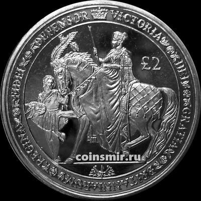2 фунта 2019 Южная Георгия и Южные Сандвичевы острова.  200-летие королевы Виктории.