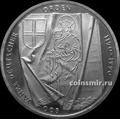 10 марок 1990 J Германия ФРГ.  800 лет Тевтонскому ордену. Состояние на фото.