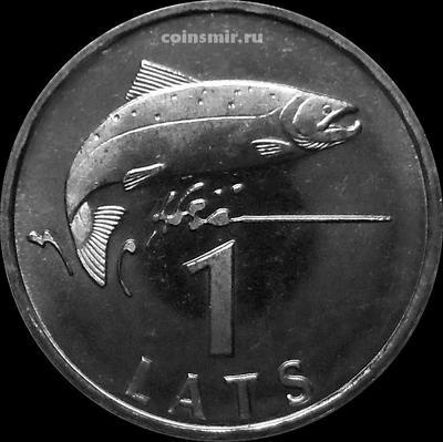 1 лат 1992 Латвия. Лосось. UNC