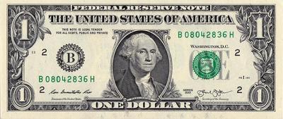 1 доллар 2013 В США.