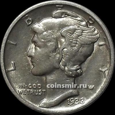 10 центов (1 дайм) 1938 D США.
