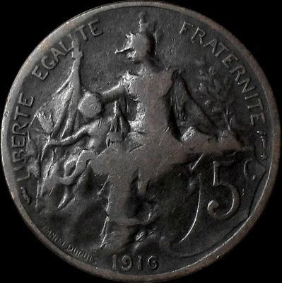 5 сантимов 1916 Франция.
