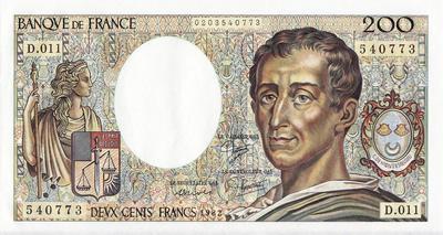 200 франков 1982 Франция.