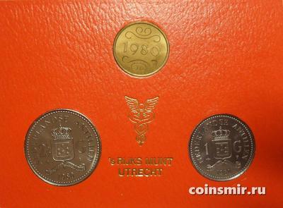 Набор из 2 монет и жетона 1980 Нидерландские Антильские острова.