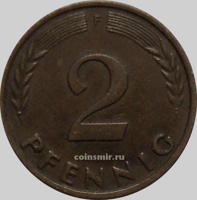 2 пфеннига 1960 F Германия (ФРГ).