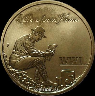 1 доллар 2016 Австралия. Письма из дома - почтальоны Первой мировой войны.