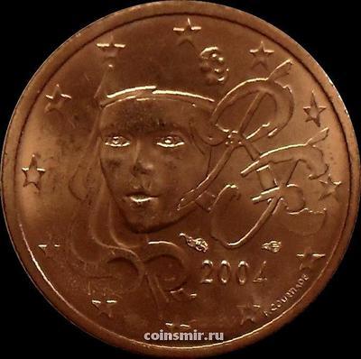 2 евроцента 2004 Франция. Олицетворение республики Марианна.