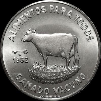 1 песо 1982 Куба. Крупный рогатый скот. ФАО.