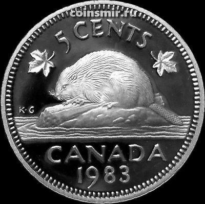 5 центов 1983 Канада. Бобр. Пруф.