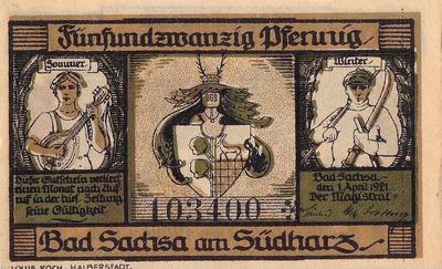 25 пфеннигов 1921 Германия г.Бад-Закса (Нижняя Саксония). Нотгельд.