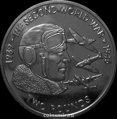 2 фунта 2019 Британская территория в Индийском океане. Вторая мировая война. Авиация.
