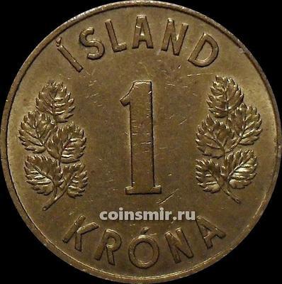 1 крона 1973 Исландия. Толстая 3 в годе.