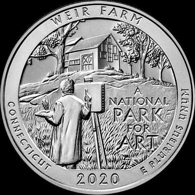 25 центов 2020 D США. Ферма Дж.А.Вейра. 52-й. Коннектикут.