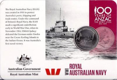 20 центов 2015 Австралия. АНЗАК - Первая Мировая Война 1914-1918.  Королевский австралийский военно-морской флот. Открытка.
