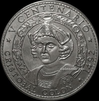 1 песо 1990 Куба. Христофор Колумб. 500-летие открытия Америки.