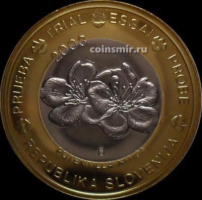 1 евро 2003 Словения. Проба. Specimen. Лапчатка блестящая.