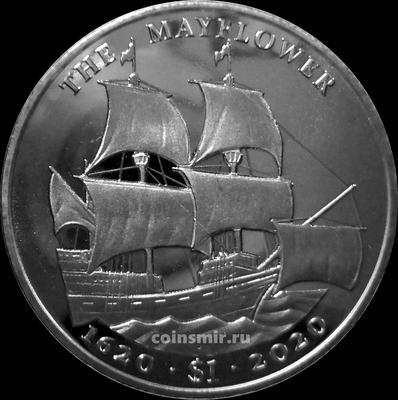 1 доллар 2020 Британские Виргинские острова. Парусник Майфлауэр.
