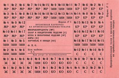 Карточка на продовольственные товары Норма №1.