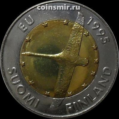 10 марок 1995 М Финляндия. Вступление Финляндии в Европейский союз.