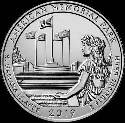 25 центов 2019 S США. Американский мемориальный парк. (Северные Марианские острова) 47-й.
