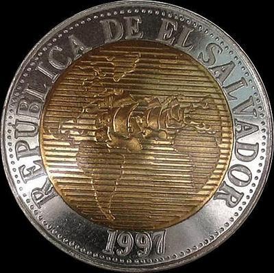 5 колонов 1997 Сальвадор. 500 лет открытия Колумбом Америки.