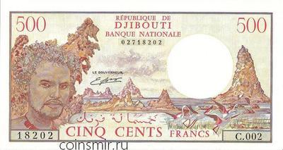 500 франков 1979 - 1988 Джибути.
