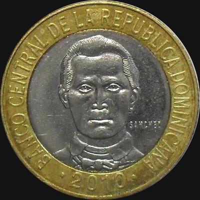 5 песо 2010 Доминиканская республика.