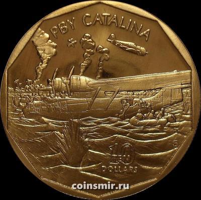 10 долларов 1991 Маршалловы острова. Гидросамолет США PBY Catalina.