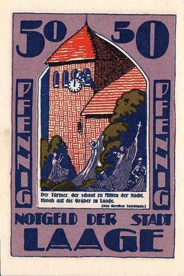 50 пфеннигов 1922-1924 Германия г.Лаге (Мекленбург). Нотгельд.