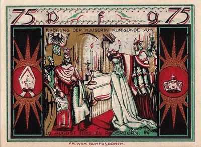 75 пфеннигов 1921 Германия г.Падерборн (Рейн-Вестфалия). Нотгельд.