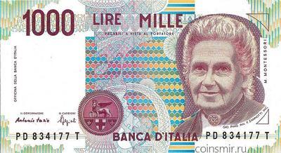 1000 лир 1990 Италия. Pick # 114b Подписи: Fazio & Speziali