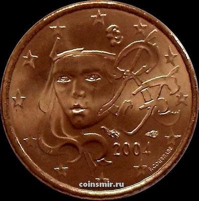 1 евроцент 2004 Франция. Олицетворение республики Марианна.