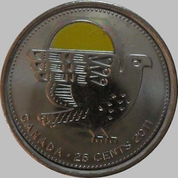 25 центов 2011 Канада. Сокол. Цветная эмаль.