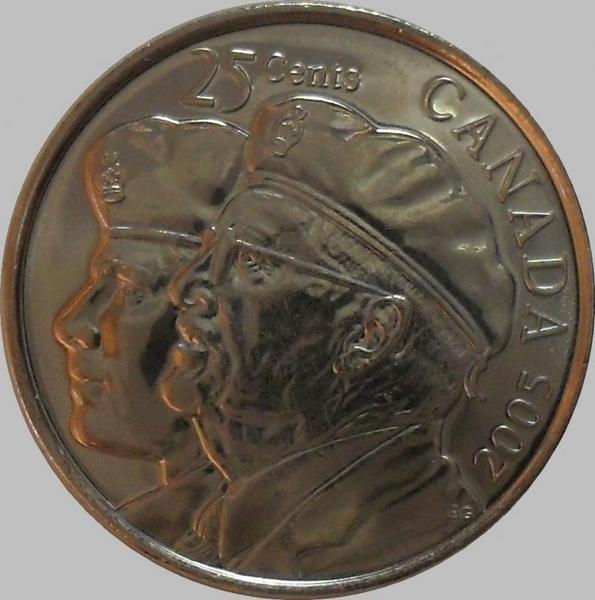25 центов 2005 Канада.Год ветеранов.