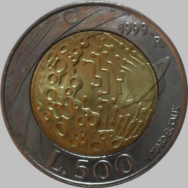 500 лир 1999 Сан-Марино. Исследование космоса. Луна.