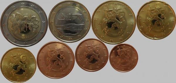 Набор евро монет 2011 Финляндия. (в наличии 2001 год Запайка)