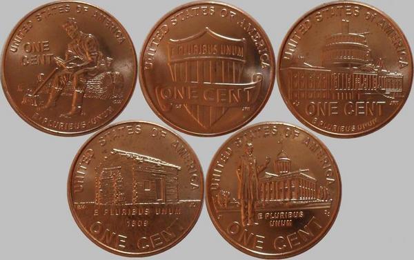 Набор из 5 монет США номиналом 1 цент. Жизнь Линкольна.