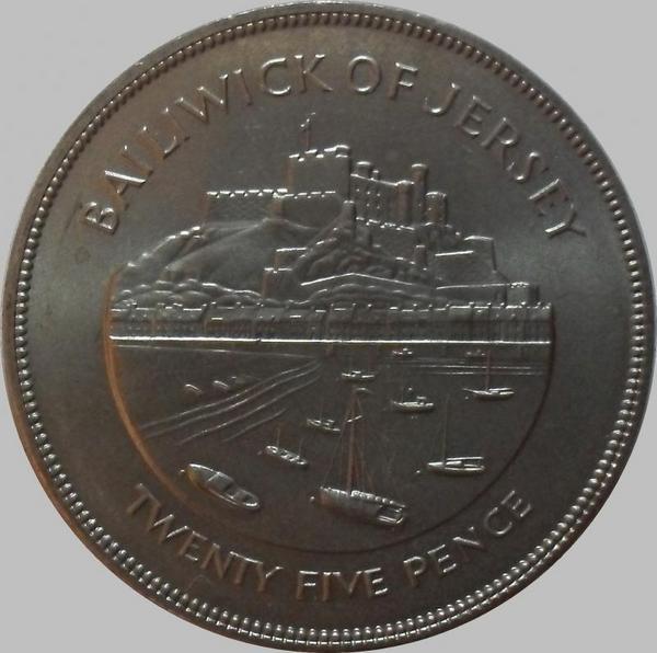 25 пенсов 1977 остров Джерси. Замок Мон-Оргёйль.