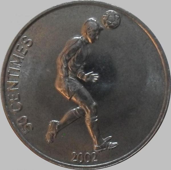 50 сантимов 2002 Конго. Футболист.