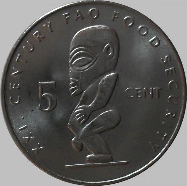 5 центов 2000 острова Кука. ФАО.