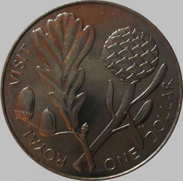 1 доллар 1981 Новая Зеландия. Королевский визит.