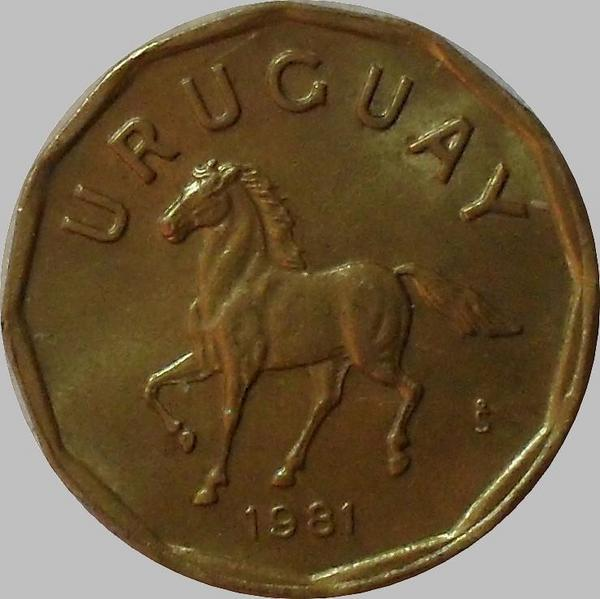 10 сентесимо 1981 Уругвай. Лошадь.