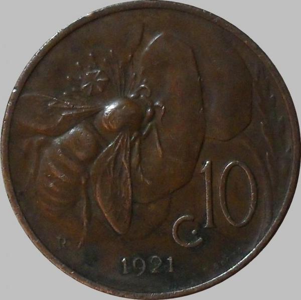 10 чентезимо 1921 Италия.