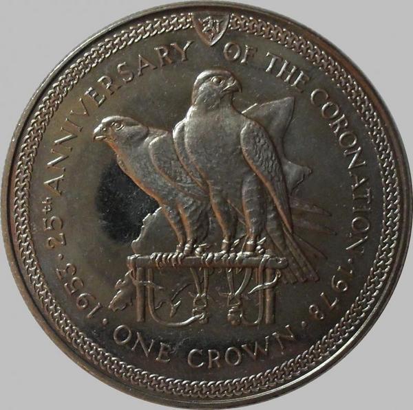 1 крона 1978 остров Мэн. 25 лет Коронации.
