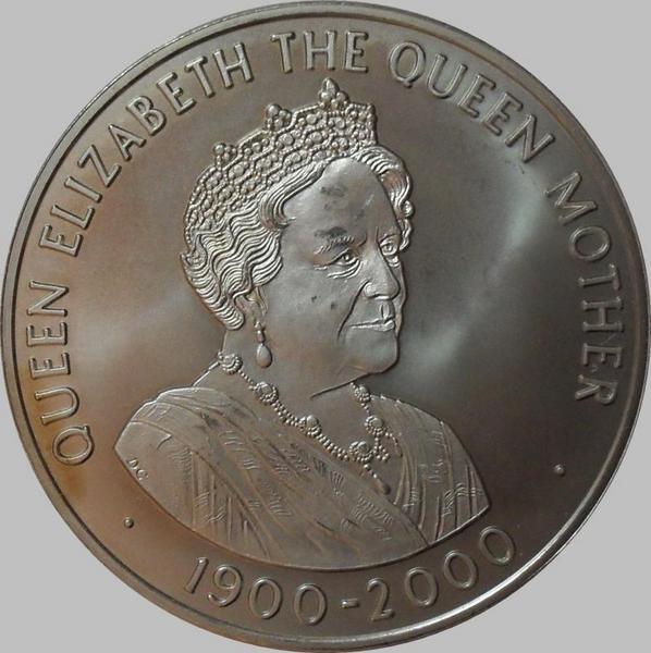 50 пенсов 2000 остров Святой Елены. 100 лет со дня Рождения королевы-матери.